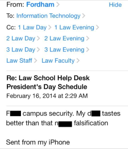 This email was sent to Fordham's Law School. (Email Screenshot)