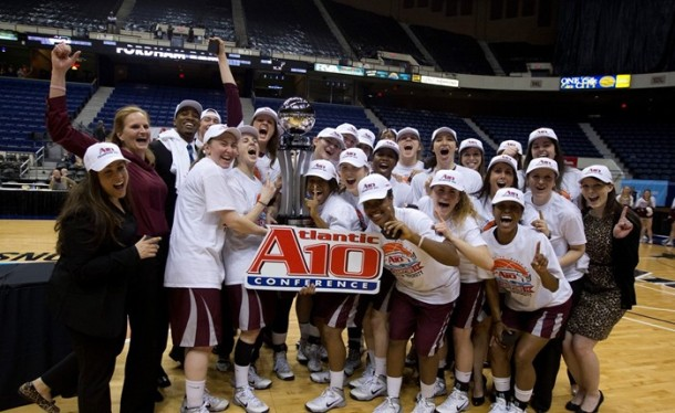 Women's Basketball defeated Dayton, 63-51, winning A-10 Championship. (Fordham)